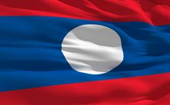 Stock Illustration of fluttering flag of laos on the wind