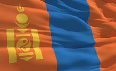 Stock Illustration of fluttering flag of mongolia on the wind
