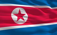 fluttering flag of north korea on the wind - stock illustration