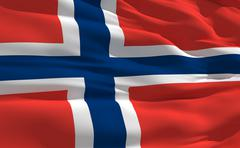 Stock Illustration of fluttering flag of norway on the wind