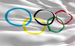fluttering flag of olympique on the wind - stock illustration