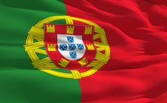 fluttering flag of portugal on the wind - stock illustration