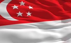 fluttering flag of singapour on the wind - stock illustration