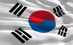 fluttering flag of south korea on the wind - stock illustration