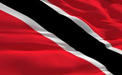 fluttering flag of trinidad and tobago on the wind - stock illustration