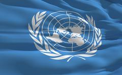 fluttering flag of united nations on the wind - stock illustration