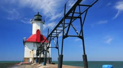 St Joseph river inlet lighthouse. Stock Footage