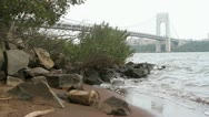 Stock Video Footage of Hudson River with George Washington Bridge