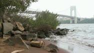 Hudson River with George Washington Bridge Stock Footage