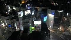 Fast motion of Shibuya car traffic, pedestrian crossing by night, Tokyo,Japan - stock footage