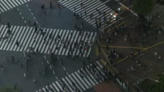 Fast motion of Shibuya pedestrian crossing and car traffic by night,Tokyo, Japan - stock footage