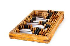 Old wooden abacus with a calculated sum Stock Photos