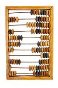 old wooden abacus with a calculated sum - stock photo