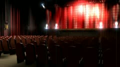 Empty theater hall, art, performance, orchestra, musical, audience. Stock Footage