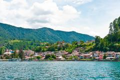Lake Toba in Parapat area - stock photo