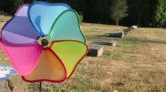 Old Canadian Cemetery with Colorful Spinner Stock Footage