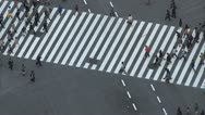 Stock Video Footage of Fast motion aerial view Shibuya pedestrian crossing car traffic day Tokyo Japan