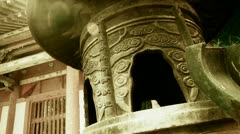 China religion Inscriptions on censer iron tower,oriental elements temple. Stock Footage