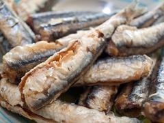 Fried anchovies fish on plate Stock Photos