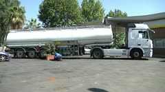 Fuel truck at gas stantion. Stock Footage