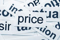 Price word cloud Stock Photos