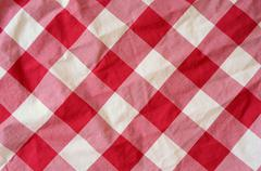 Red Plaid Material Background - stock photo