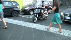 Stop line, pedestrians, cars. Stock Footage