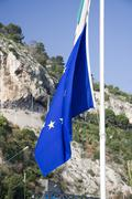 Flag of europe on the flagstaff Stock Photos