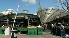 Bull Ring Open Market, Birmingham, England. - stock footage