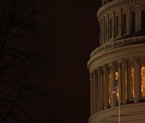 US Capitol Rotunda at night, offset right - stock footage