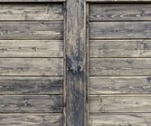wood wall with two copy spaces - stock photo
