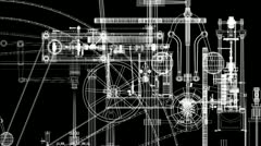 Animation of steam engine parts layered. Loops. - stock footage