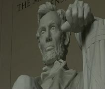 DC - Abraham Lincoln Memorial statue - low angle face hand 01 Stock Footage