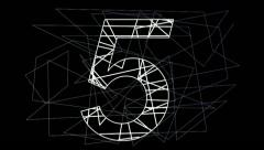 54321 countdown with angular stylized numbers and background. Stock Footage