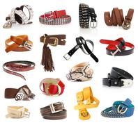 Leather belts isolated on the white Stock Photos