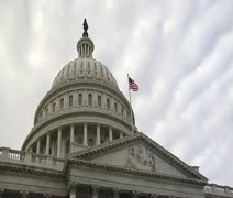 DC - US Capitol Building Rotunda cloudy low angle  - stock footage