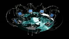 Visualization of computers around the world communicating. Stock Footage