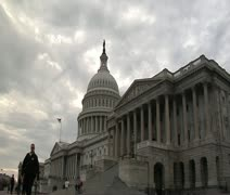 DC - US Capitol Building east entrance cloudy low angle wide - stock footage