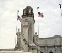 DC - Christopher Columbus statue at Union Station Stock Footage
