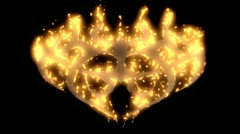 A flat tribal tattoo shape bursts into flames. Stock Footage