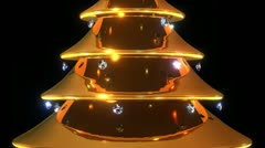 A christmas tree made of gold and decorated with diamonds. Stock Footage
