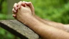 Prayer in Woods - Hands Folded Stock Footage