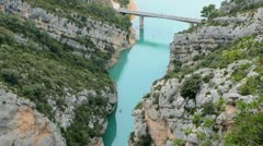 Gorges of the Verdon river at the  Sainte-Croix lake in France Stock Footage