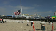 Old Glory at Santa Monica Pier Stock Footage