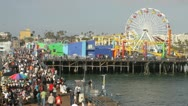 Stock Video Footage of Santa Monica Pier and people