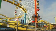 Santa Monica Pier amusement rides Stock Footage