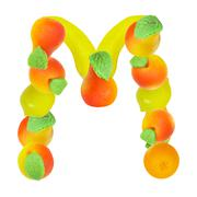 alphabet from fruit, the letter m - stock photo