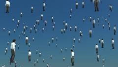 Sky is filled with floating men. After Magritte. Stock Footage
