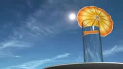 Fizzy drink with an umbrella in it. Jet flies high above. Stock Footage