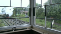 Vintage Steam Train Filmed From Inside Signal Box  Stock Footage